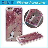 China Supplier Custom Quicksand Hearts Liquid Case Cell Phone Back Cover Case For Iphone 6