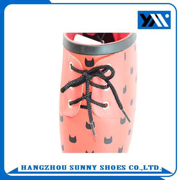 lovely kitten style ladies rubber wellington rain boots