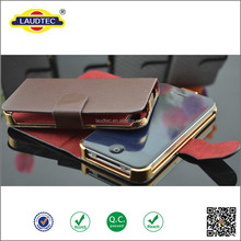 Hot sale custom leather wallet leather cell phone flip case cover for iphone5