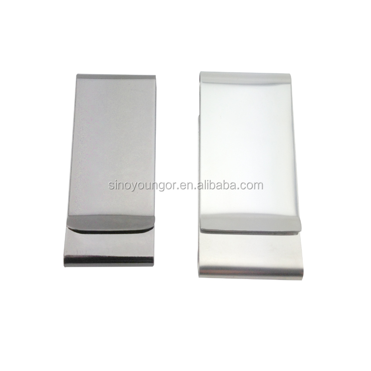 Customized laser brass metal brushed stainless steel blank money clip wholesale