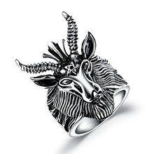 Marlary Wholesale Custom Casting Men And Boys Punk Style Stainless Steel Head Animal Shaped Rings