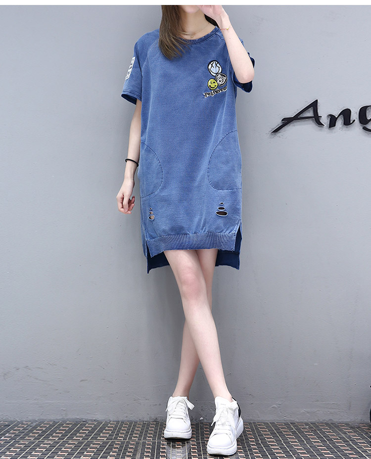 Casual pure color jumper dress for girls ragged jeans style ,latest blouse designs for back women plus size