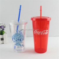 plastic travel JUICE & ICED COFFEE cup with straw