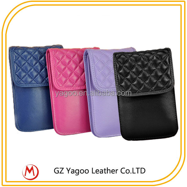 Multi- color plain cross body wholesale leather wallet cell phone case