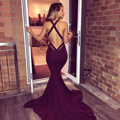 2017 Fashion sexy backless bodycon catwalk off-shoulder V neck expose-the-breast Back cross straps gown