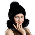 CX-C-165F Women Decorate Fur Ball Beanie Mink Fur Knitted Hat