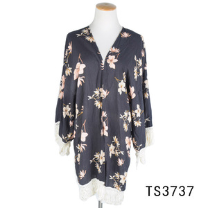 TOROS wholesale stylish women printed floral long fringe kimono jacket