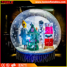 Inflatable Snow Ball with Flash Lights for Xmas, Inflatable Globe Tent for Photoes, Snow Globe for Advertising