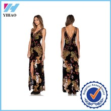Trade Assurance Yihao Women's Vintage Style Flora Print Dresses Elegant Slit Long Maxi Long Dress 2015