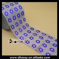 China factory DH-PM006 lacquered purple flower plastic rhinestone mesh roll in silver diamond shine