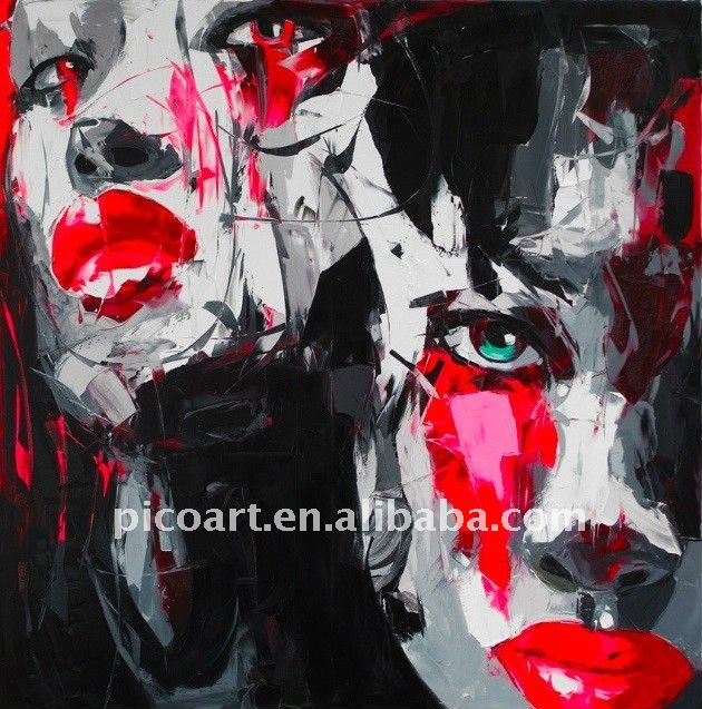 modern pop abstract portrait art painting on canvas