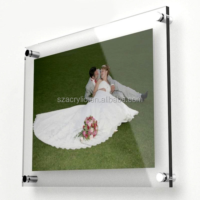 Acrylic wall mounted photo frame acrylic wall display picture frame