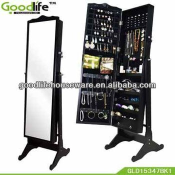 large mirror MDF standing mirror jewelry armoire +wall mount from Goodlife