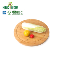 Best quality Round Bamboo wood pizza cutting serving board with FDA certificate