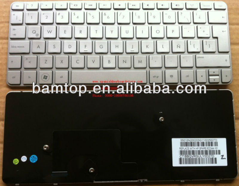 Teclado para laptop for HP mini 210-2000 plata latin laptop keyboard 622344-161