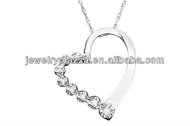 Diamond Necklace,10k White Gold Plated Diamond Journey Heart Pendant