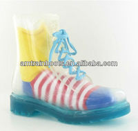 women pvc transparent rain boot with lace up