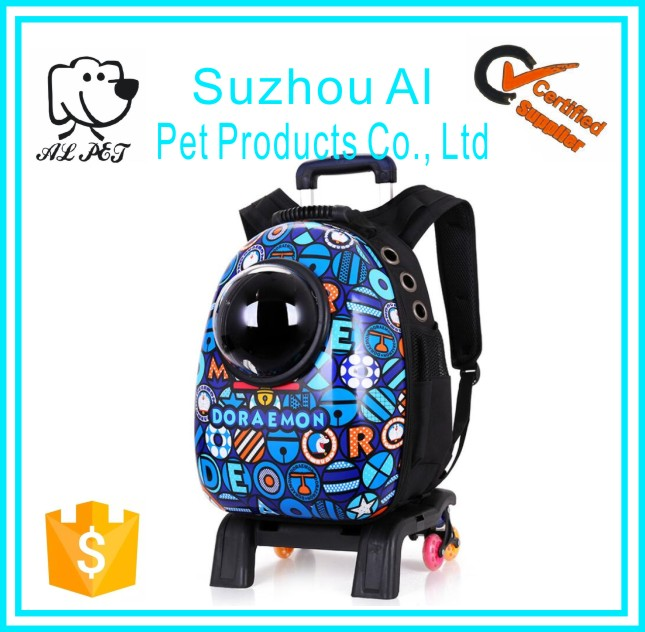 Hot Selling Pet Space Backpack Breathable Bag Outdoor Portable Pet Dog Crates with Wheels