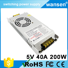 Ultra thin slim design hot selling S-200-5 200W 5V 5V 40a smps power supply switching