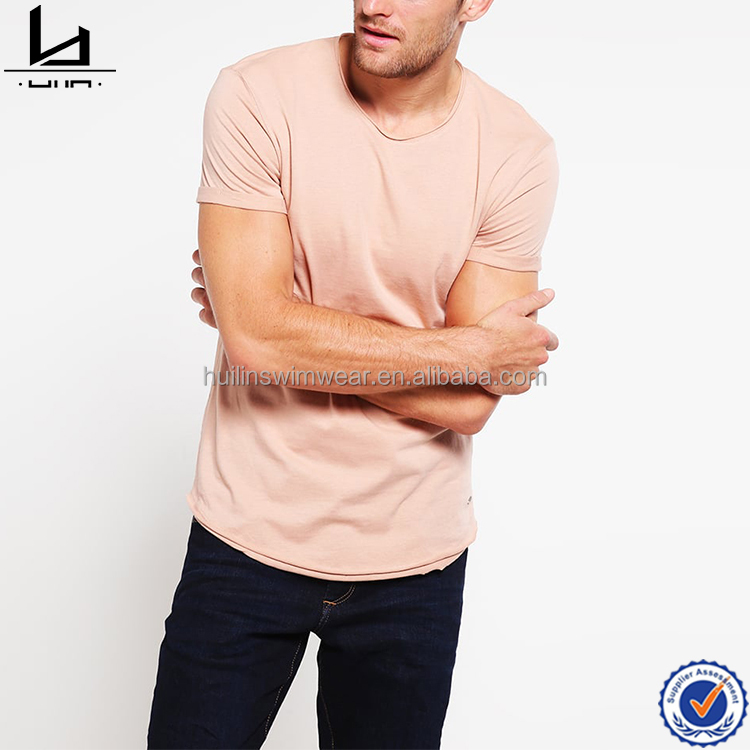 2017 fashion clothing factory custom mens raw edges t shirt crewneck t shirt wholesale in china