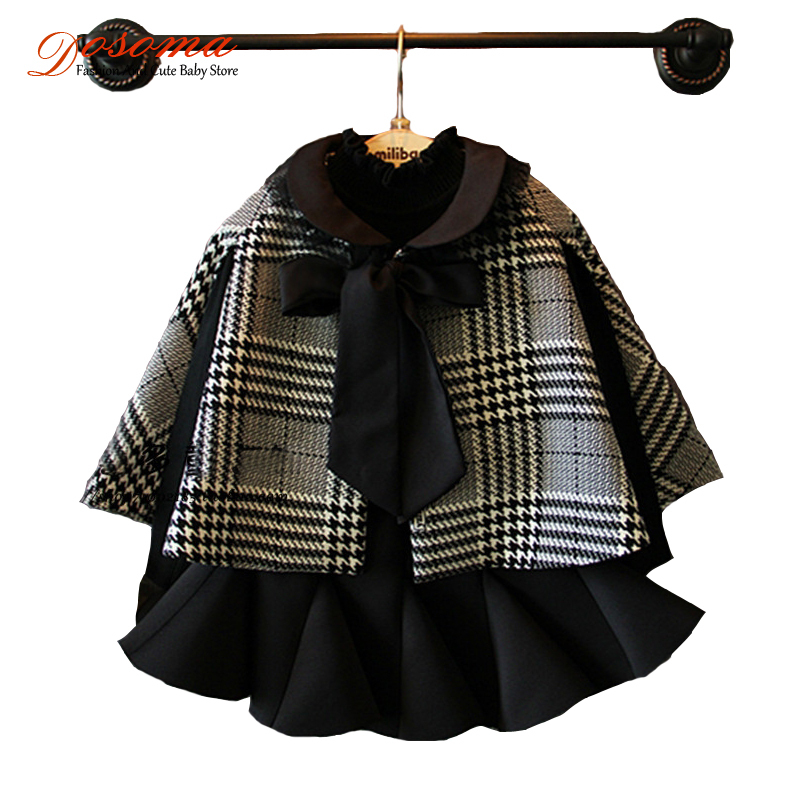 baby girls clothing set Fashion brand kids British style lace collar cape with skirt 2pcs set kids clothes girls clothing set