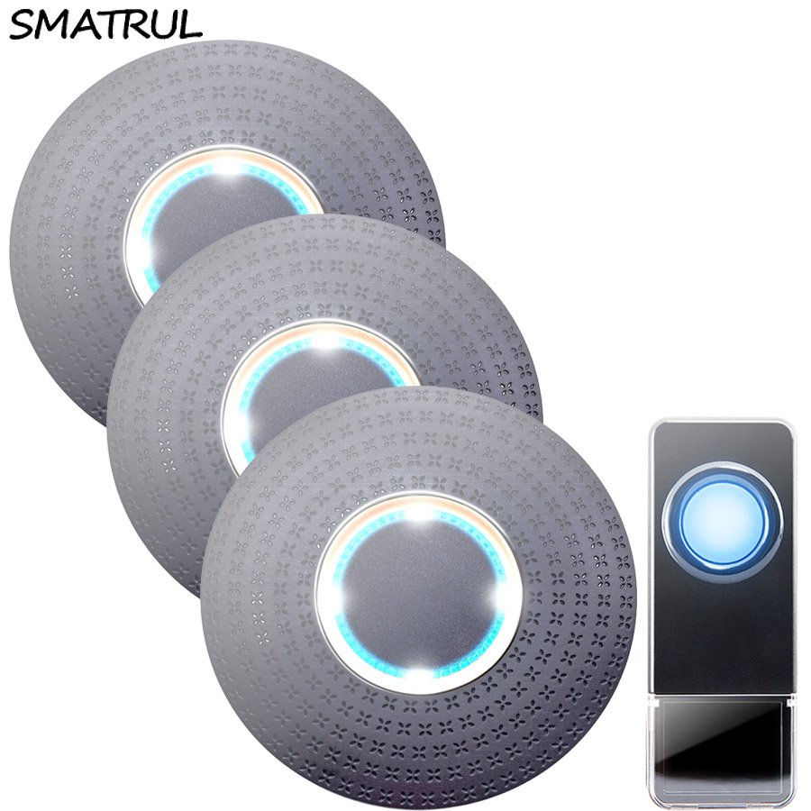 SMATRUL New Waterproof Wireless Doorbell EU Plug 300M Remote smart Door Bell Chime ring 1 button 3 receiver no battery Deaf Gorgeous lighting black