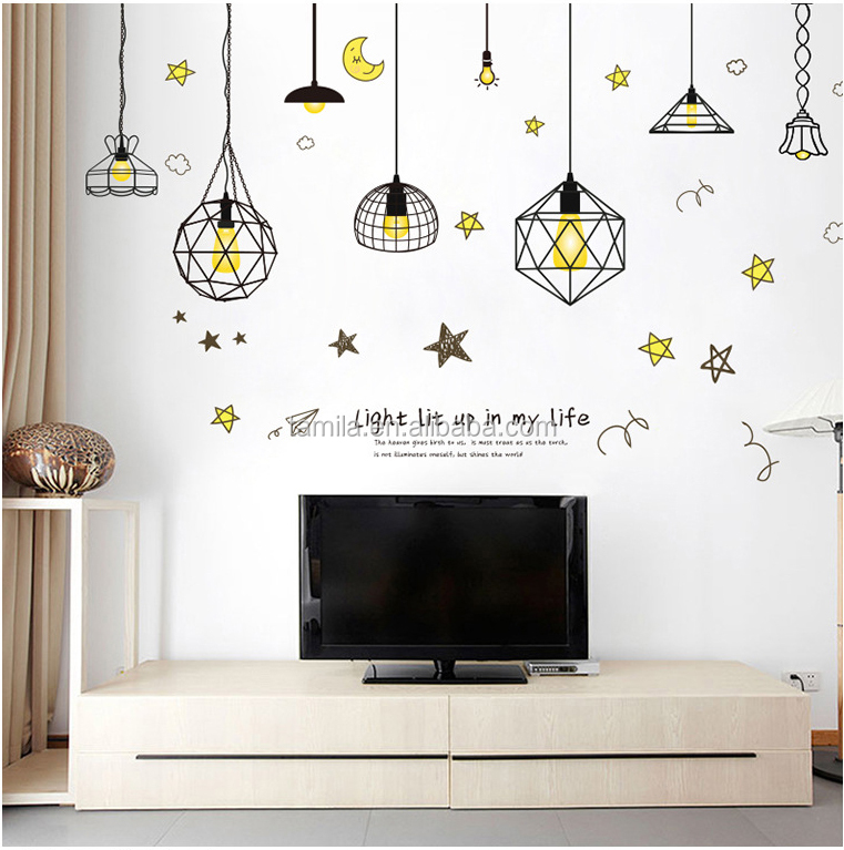 Creative wall sticker cartoon droplight removable DIY home bedroom living room decorative wall sticker