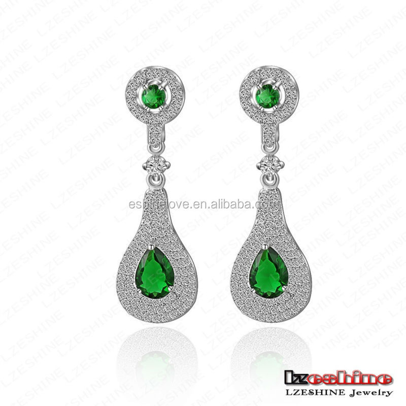 LZEHSINE Bohemian Emerald Rhinestone Women Big Long Drop Earrings CER0081-B