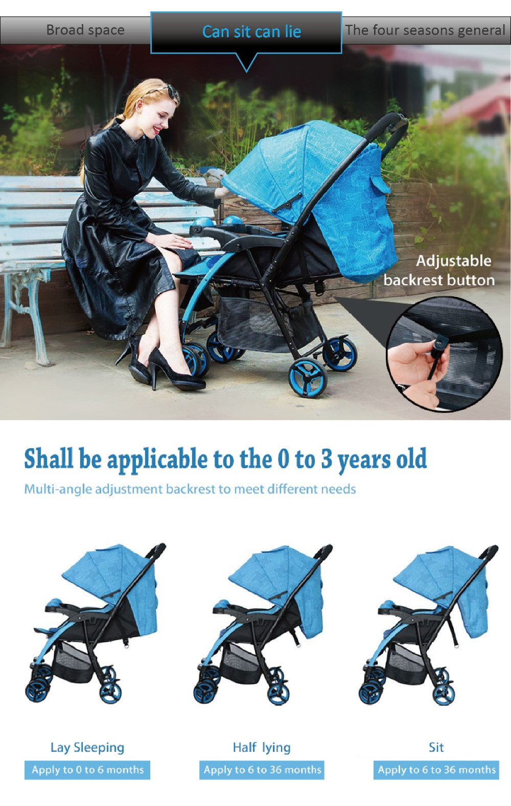 Hot sale factory wholesale price baby buggy stroller for mom caring kids with two-way baby stroller pram HP-712POLO
