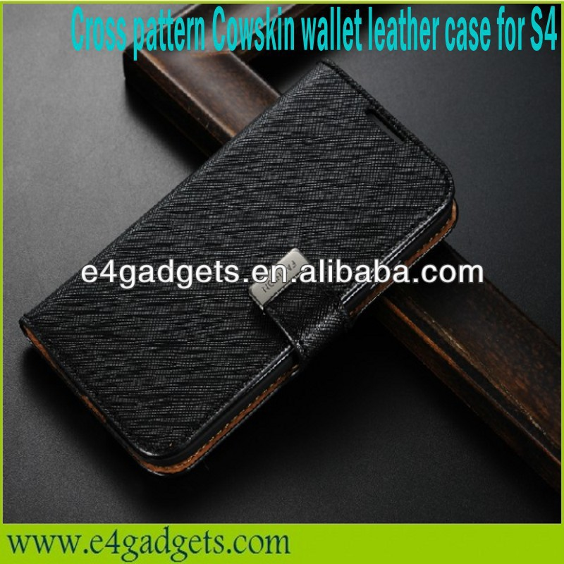 Hot Sale Cross pattern leather Flip Wallet stand wake and sleep function case for samsung galaxy s4 i9500