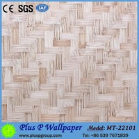 Realistic Bamboo Mat and Brick Stone Design Wall Murals PVC Wallpaper