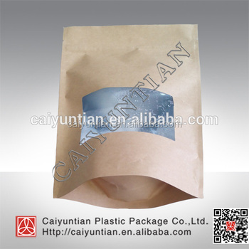 customized printing high quality stand up kraft paper bag pouch with zipper top and window