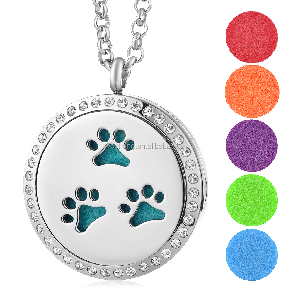 10pcs/lot 316L Stainless Steel Aromatherapy Locket Pendant Necklace Paw Print with <strong>Crystal</strong> Magnetic without Felt Pads VA-273*10