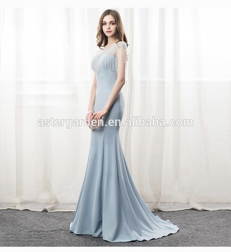 2019 Skinny Fishtail Party Gown Long Evening Dress Beaded Prom Dress Cap Sleeve Mermaid Evening Gowns
