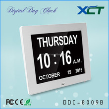 "8"" Non-Abbreviated Day & Month day date calendar alarm desk clock for elderly for seniors for dementia for memory loss DDC-8009B"
