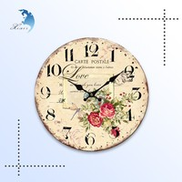 Promotional excellent gold stamping pine wood crafts wall clocks