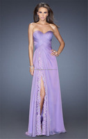 Fashion Sweetheart Pleat Lace flowing long chiffon evening dress FXL-788