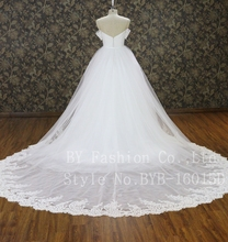 2016 high quality strapless sweetheart supper big train floor-length with veil ballgown wedding dress