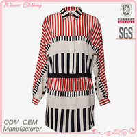 Hign quality black and red striped long sleeve stand collar 2012 new design ladies dress