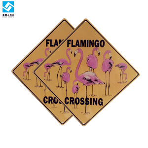 Wholesale factory supply custom attention metal sign animal warning flamingo crossing sign