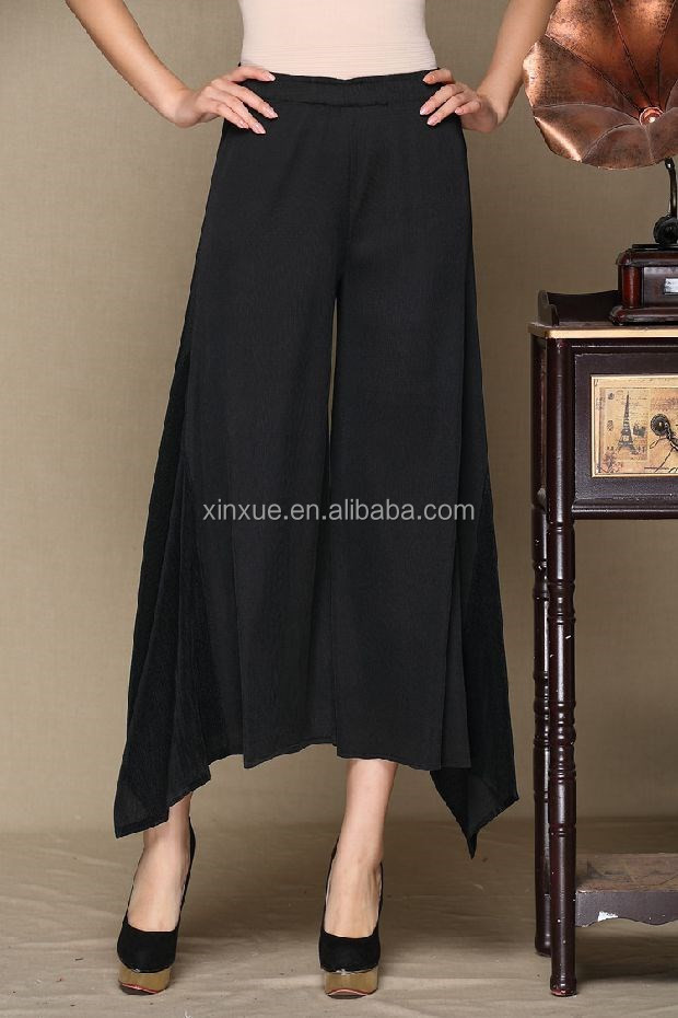 New fashion design pleated women pants wide leg irregular ladies trousers for wholesale
