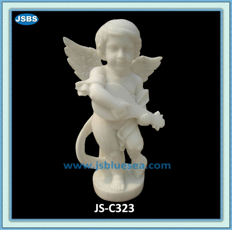 Cute Child Angel Statue With Musical Instrument