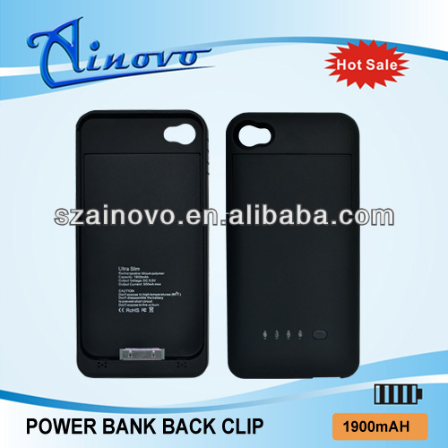 High quality Back Clip Power Battery for iphone 4,for iphone 4 solar charger battery case