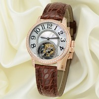 Custom High End Ladies Fancy Wrist Watch, Real Tourbillon Movement Watch For Girls