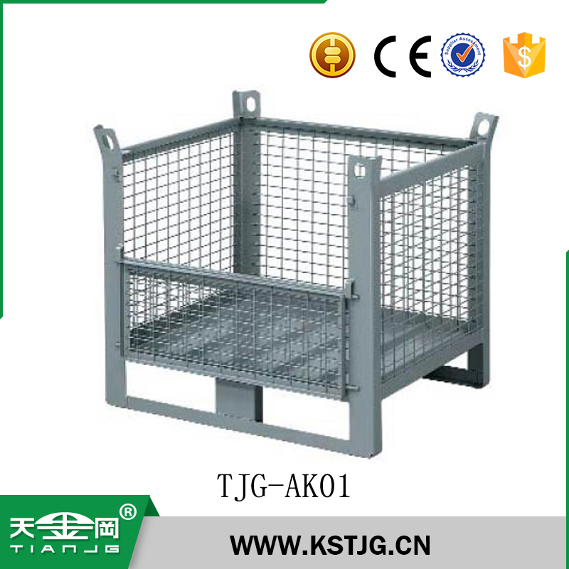TJG-AK01 professional mesh box wire cage metal bin storage container supplier