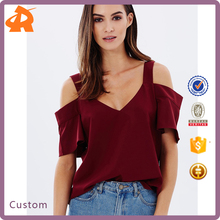 Latest Design Girls Top Pictures Of V-neckline Cotton Tops