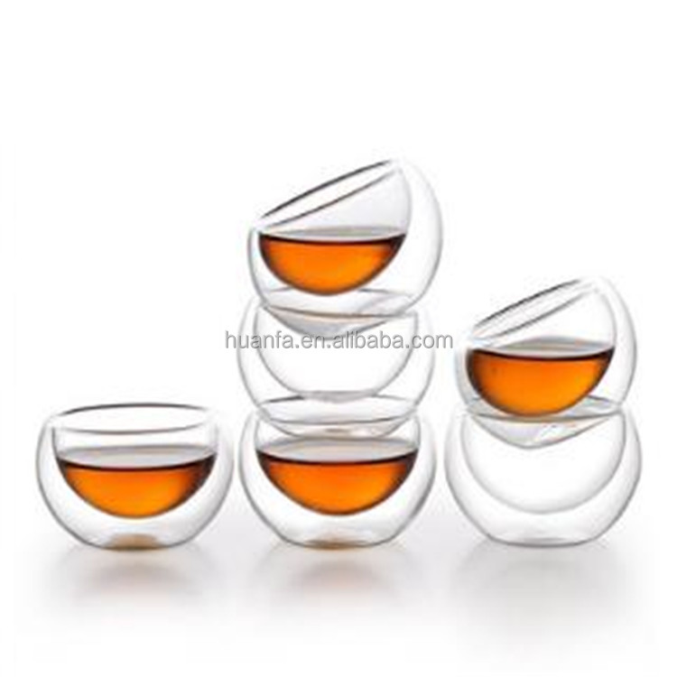 50ml-100ml Stockage Mini Ultra Clear Hand-Made Double-walled Borosilicate Glass Heat-resisting Tea Cup