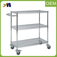 3 layer kitchen wire rolling utility storage rack trolley used mobile food cart for sale