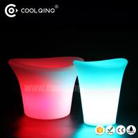 16Color changing Waterproof IP68 plastic wine bottle cooler/flashing rgb ice bucket