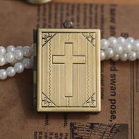 Antique Bronze Cross Design Book Locket Living Memory Locket Necklace Floating Charm Pendent Charms